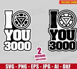 I love you 3000 - Iron Man Logo Avengers (SVG dxf png)