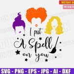 I put a spell on you - Sanderson Sisters Hair (SVG dxf png) Halloween Hocus Pocus Movie Cut File Cricut Vector Clipart T-Shirt Design Witch