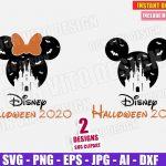 Disney Castle Halloween 2020 (SVG png) Mickey Minnie Mouse Head Ears Bow Bat Cut Files Silhouette Cricut Vector Clipart T-Shirt Design Kids