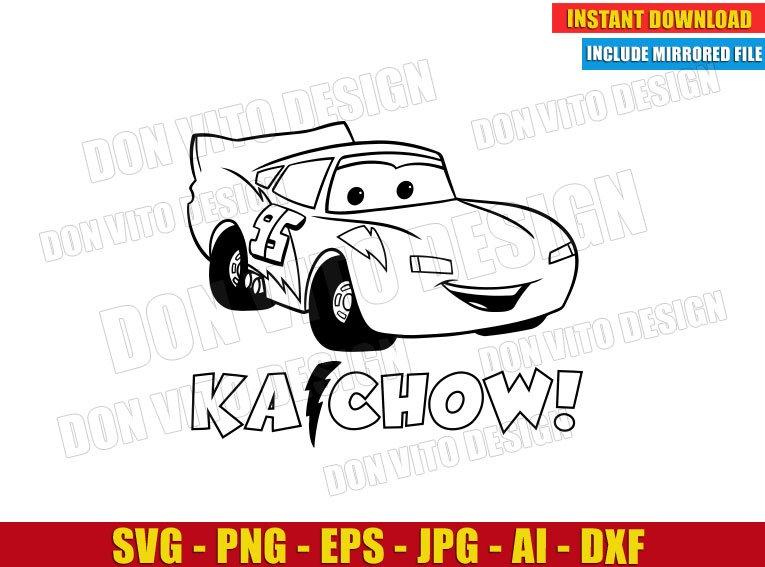 Ka Chow Lightning Mcqueen Cars Svg Dxf Png Disney Movie Logo Cut