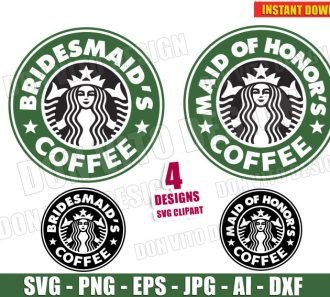 Wedding Starbucks - Maid of Honor's & Bridesmaid's cut files image vector clipart - DonVitoDesign Store