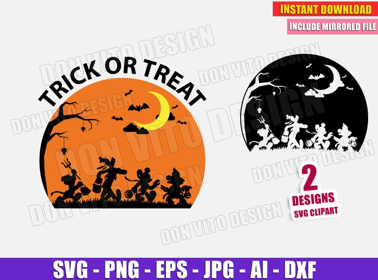 Mickey Goofy Donald Duck Minnie Mouse Halloween Svg Dxf Png Cut