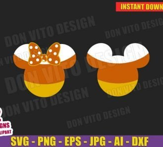 Mickey Minnie Mouse Candy Corn Halloween (SVG dxf png) Cut Files Image Vector Clipart - Don Vito Design Store
