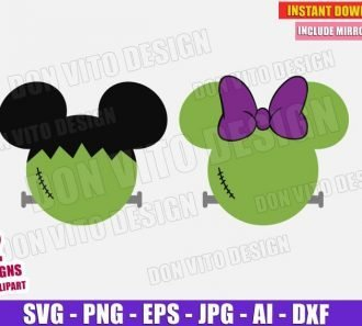Mickey & Minnie Mouse Frankenstein (SVG dxf png) Cut Files Image Vector Clipart - Don Vito Design Store