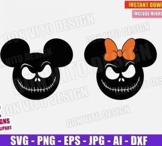 Mickey Minnie Mouse Jack Skellington Halloween SVG PNG cut files image vector clipart - DonVitoDesign Store
