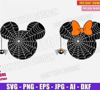 Mickey & Minnie Mouse Spider Web Head SVG PNG cut files image vector clipart - DonVitoDesign Store