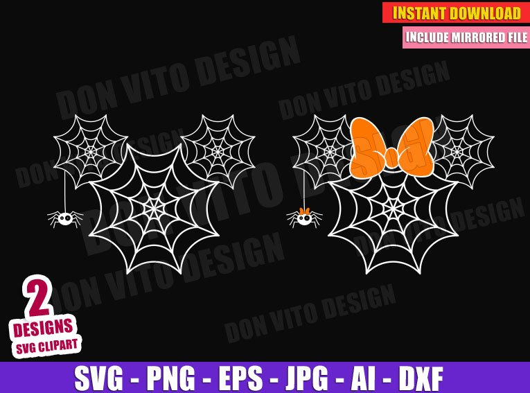 Mickey Minnie Mouse Spiderwebs Head Svg Dxf Png Disney Halloween