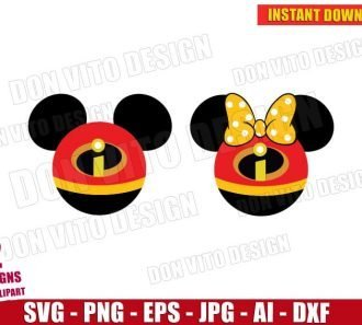 Mickey & Minnie Mouse The Incredibles (SVG dxf png) cut files image vector clipart - DonVitoDesign Store