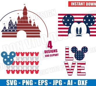 Mickey Mouse 4th of July USA (SVG dxf png) cut files image vector clipart - DonVitoDesign Store