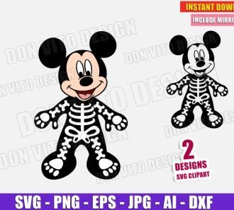 Mickey Mouse Skeleton Halloween (SVG png) cut files image vector clipart - DonVitoDesign Store