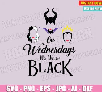 On Wednesdays We Wear Black - Disney Villains (SVG dxf png) cut files image vector clipart - DonVitoDesign Store