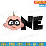 One Baby Jack Jack Head - The Incredibles (SVG png) Disney Movie Birthday Party Turning 1 Cut Files Vector Clipart T-Shirt Design Boy Girl DIY