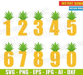 Pineapple Numbers cut files PNG image vector clipart - DonVitoDesign Store