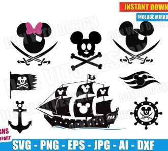 Pirate Mickey Mouse Disney Bundle (SVG dxf png)