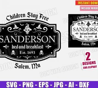 Halloween Sanderson Sisters Bed & Breakfast (SVG dxf png) Cut Files Image Vector Clipart - Don Vito Design Store