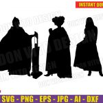Sanderson Sisters Witches Halloween Silhouette (SVG dxf png) Hocus Pocus Vacuum Cleaner Cut Files Cricut Vector Clipart T-Shirt Design Girl