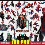 Spiderman Clipart (100 PNG Images) Marvel Superhero Logo Spider Man Nick Fury Mysterio Digital Transparent Background Files Birthday Party Printable