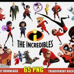 THE INCREDIBLES 2 Clipart - 65 PNG Images - Disney Pixar Movie Logo Digital Transparent Background Files Party Printable - Instant Download