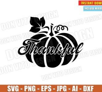 Thankful Pumpkin Thanksgiving Day (SVG dxf png) cut files image vector clipart - DonVitoDesign Store
