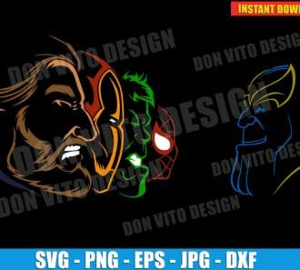 The Avengers vs Thanos (SVG dxf PNG) cut files PNG image vector clipart - DonVitoDesign Store