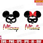 Mickey & Minnie Mouse Mask The Incredibles (SVG dxf png) Disney Superhero Movie Ears Bow Vector Clipart Cut File Cricut T-Shirt Design Boy Girl