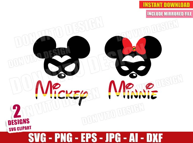 Mickey & Minnie Mouse Mask The Incredibles (SVG dxf png)