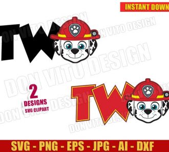 Two Marshall Paw Patrol Logo (SVG dxf png) cut files image vector clipart - DonVitoDesign Store