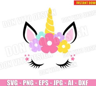 Unicorn Head Face Eyelashes Ears (SVG dxf png) Cut Files Image Vector Clipart - Don Vito Design Store