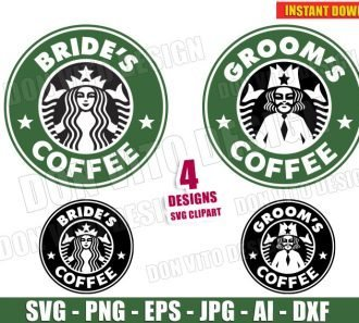 Wedding Starbucks Bride & Groom (SVG dxf png) cut files image vector clipart - DonVitoDesign Store