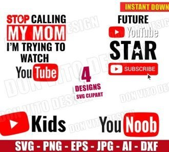 Youtube Logo - Funny Youtuber Bundle (SVG dxf png) cut files image vector clipart - DonVitoDesign Store