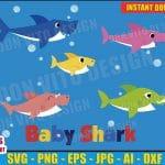 Baby Shark Family Bundle (SVG dxf png) Daddy Mommy Grandma Grandpa Jaws Sea Vector Clipart Cut Files Cricut Silhouette T-Shirt Design Boy Girl
