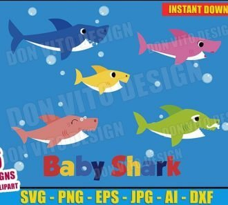 Baby Shark Family Bundle (SVG dxf png) Cut Files Image Vector Clipart - Don Vito Design Store