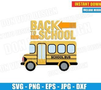 Back to School Logo Bus Driver (SVG dxf png) Student Teacher Classroom Cut File Silhouette Cricut Vector Clipart