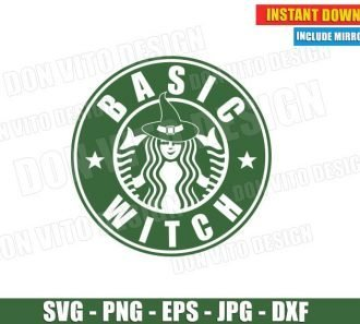 Basic Witch Starbucks Coffee Logo (SVG dxf PNG) Cut Files Image Vector Clipart - Don Vito Design Store