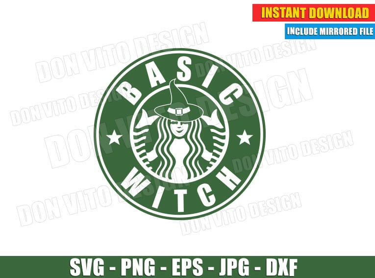 Basic Witch Starbucks Coffee Logo Svg Dxf Png Halloween Fall Cut File