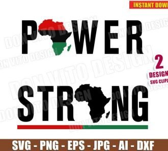 Black Pride Power & Strong Africa Map (SVG dxf png) Cut Files Image Vector Clipart - Don Vito Design Store