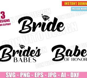 Bride Babe of Honor Wedding Ring (SVG dxf png) Cut Files Image Vector Clipart - Don Vito Design Store