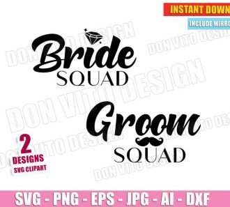 Bride & Groom Squad Wedding Ring Moustache SVG Cut Files Image Vector Clipart - Don Vito Design Store