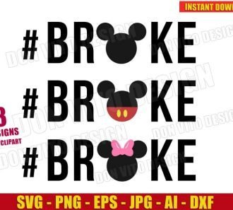 Broke Bundle Mickey & Minnie Mouse Head (SVG dxf png) Cut Files Image Vector Clipart - Don Vito Design Store