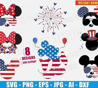 Disney 4th July USA Mickey Mouse Bundle SVG Cut Files Image Vector Clipart - Don Vito Design Store