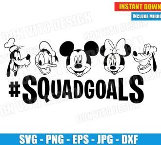 Disney Squadgoals Mickey Minnie Goofy Pluto Donald (SVG dxf png) Mickey Mouse Friends Head Cut Files Vector Clipart