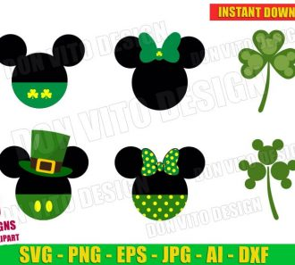 Disney St Patrick's Day Mickey Mouse Irish Clover (SVG dxf png) Cut Files Image Vector Clipart - Don Vito Design Store