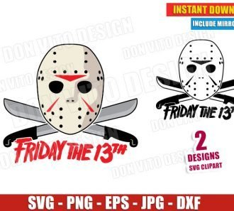 Friday the 13th Halloween Movie (SVG dxf png) Jason Voorhees Mask Machete Logo Cut Files Vector Clipart
