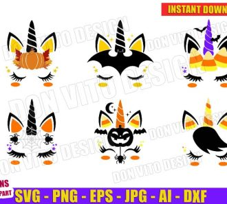 Halloween Unicorn Face Bundle (SVG dxf png) Cut Files Image Vector Clipart - Don Vito Design Store