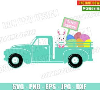 Happy Easter Bunny Truck (SVG dxf png) Cut Files Image Vector Clipart - Don Vito Design Store