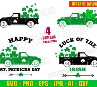 Happy St Patrick's Day Old Truck Clover Bundle (SVG dxf png) Cut Files Image Vector Clipart - Don Vito Design Store