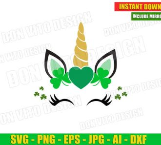 St Patrick's Day Unicorn Face Lucky Shamrocks Heart (SVG dxf png) Cut Files Image Vector Clipart - Don Vito Design Store