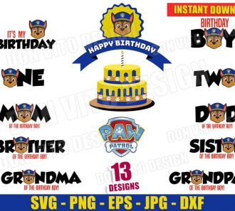 PAW Patrol Birthday Party Bundle SVG Cut Files Image Vector Clipart - Don Vito Design Store