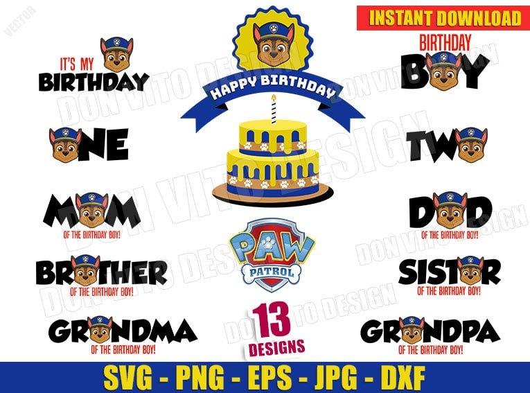 Paw Patrol Chase Birthday Party Bundle Svg Dxf Png Logo Cut Files