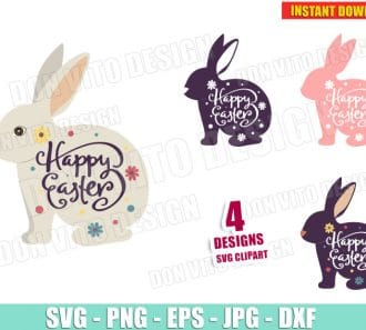 Happy Easter Bunny Bundle (SVG dxf png) Cut Files Image Vector Clipart - Don Vito Design Store